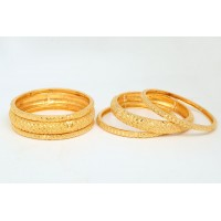 Gold Plated Bracelets Set with Multiple Sizes