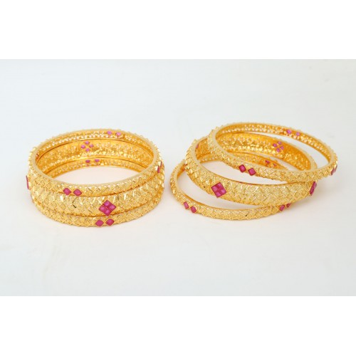 Gold Plated Bracelet Studded with Pink Beads