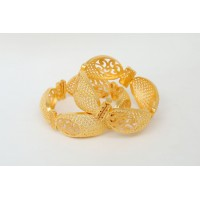 Gold Plated Bracelet with Small Circular Inscriptions