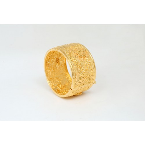 Gold Plated Wide Bracelet with Rose Inscriptions