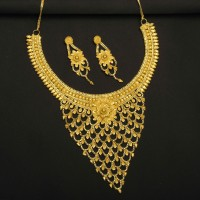 Gold Plated Net Necklace