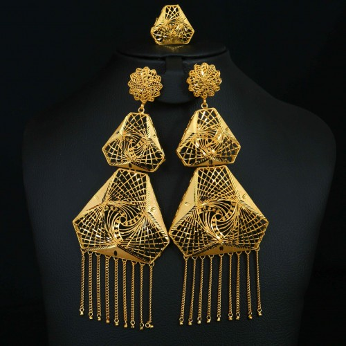 Gold Plated Earring with Ring